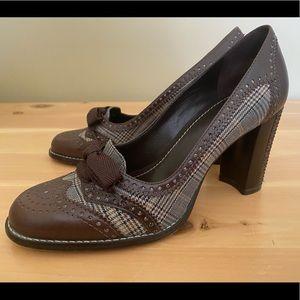 Brown/Plaid Block Heels